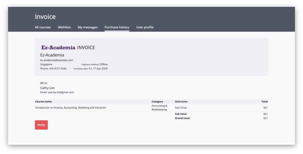 View/Print Invoice